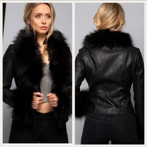 Jackets & Blazers - Sexy Faux Fur Cuff and Collar Vegan Leather Jacket